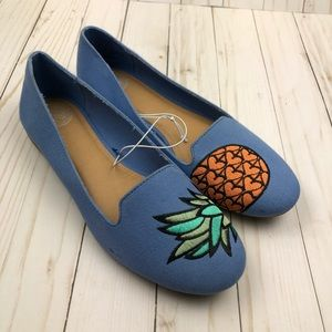 New! SO Pineapple Blue Flats